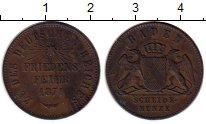 Монета Баден 1 крейцер Медь 1871 XF