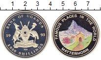 Монета Уганда 2000 шиллингов Серебро 1993 Proof фото