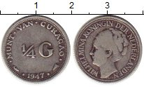Изображение Монеты Нидерланды Кюрасао 1/4 гульдена 1947 Серебро XF