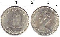 Изображение Монеты Канада 10 центов 1966 Серебро UNC-