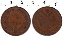 Изображение Монеты Австрия 4 крейцера 1864 Медь VF