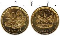 Изображение Монеты Лесото 20 лисенте 1998 Латунь UNC-