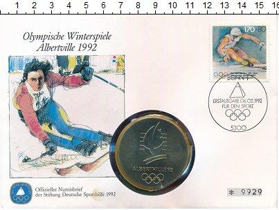 Изображение Подарочные монеты Германия Медаль 1992 Медно-никель UNC Олимпиада в Альберви