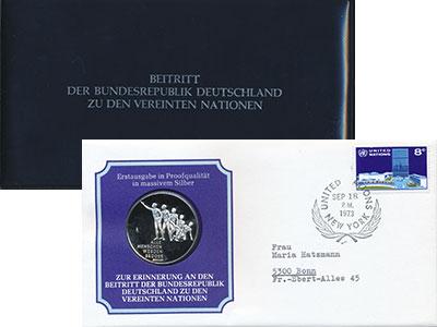 Изображение Подарочные монеты Германия Медаль 1973 Серебро Proof ```Все люди становят