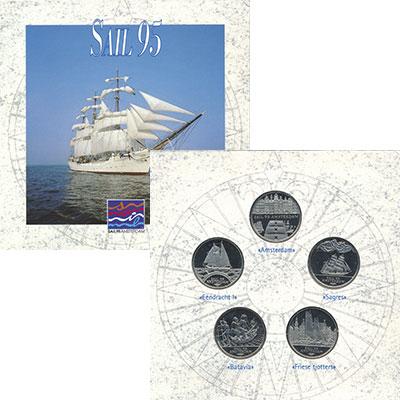 Изображение Подарочные монеты Нидерланды Выставка парусников в Амстердаме 1995 Медно-никель UNC Набор из пяти монет