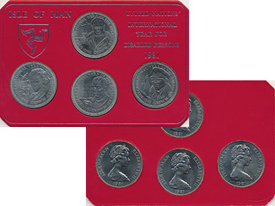 Изображение Подарочные монеты Остров Мэн Год инвалидов 1981 Медно-никель UNC Набор из четырех мон