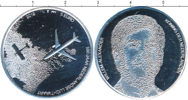 Картинка Мелочь Нидерланды 5 евро Посеребрение 2019