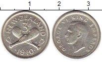 Изображение Монеты Новая Зеландия 3 пенса 1940 Серебро XF+