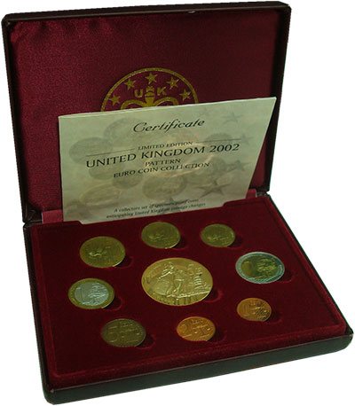 Изображение Подарочные монеты Великобритания Европроба 2002 Серебро 2002 Серебро Proof Набор фантазийных ев