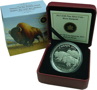 Изображение Подарочные монеты Канада 100 долларов 2013 Серебро Proof Американский бизон.