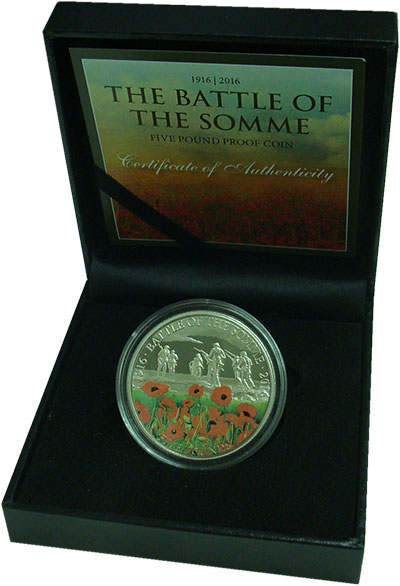 Изображение Подарочные монеты Гернси 5 фунтов 2016 Медно-никель Proof 100 лет битве при Со
