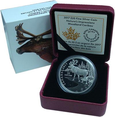 Изображение Подарочные монеты Канада 20 долларов 2017 Серебро Proof Карибу. Серебро 999.