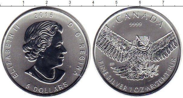 Картинка Монеты Канада 5 долларов Серебро 2015