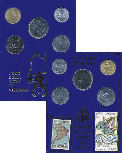 Изображение Подарочные монеты Ватикан Сувенирный набор 0  UNC Набор из 5 монет ват
