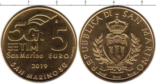 Картинка Мелочь Сан-Марино 5 евро Латунь 2019