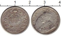Изображение Монеты Индия 1/4 рупии 1917 Серебро XF