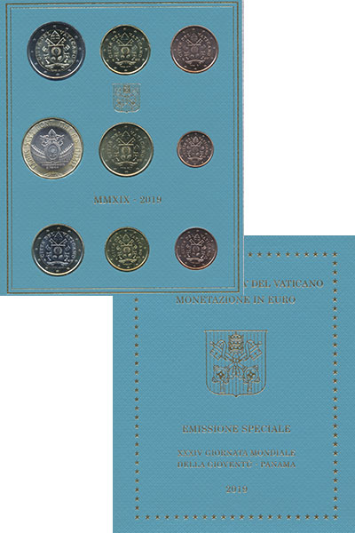 Изображение Подарочные монеты Ватикан 10 евро 2019   Евронабор (набор из