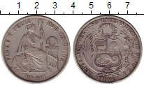 Изображение Монеты Перу 1 соль 1872 Серебро XF-