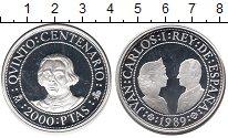 Монета Испания 2000 песет Серебро 1989 Proof