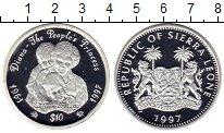 Монета Сьерра-Леоне 10 долларов Серебро 1997 Proof- фото