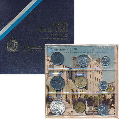 Изображение Подарочные монеты Сан-Марино Сан-Марино 1978 1978  AUNC Набор состоит из 9 м