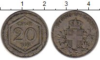 Изображение Монеты Италия 20 сентесим 1919 Медно-никель VF