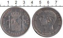 Изображение Монеты Испания 5 песет 1885 Серебро VF+