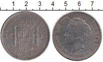 Изображение Монеты Испания 5 песет 1893 Серебро VF+