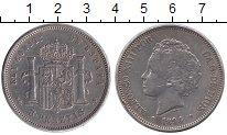 Изображение Монеты Испания 5 песет 1894 Серебро VF+
