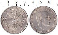 Монета Испания 100 песет Серебро 1966 UNC-