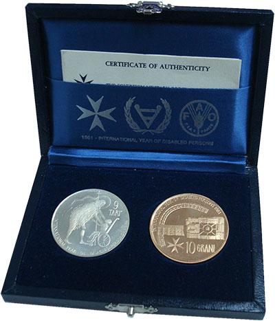 Изображение Подарочные монеты Мальтийский орден Международный год инвалидов 1981  Proof-