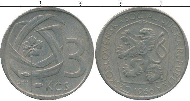 Картинка Дешевые монеты Чехословакия 3 кроны  1966