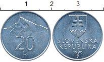 Изображение Дешевые монеты Словакия 20 хеллеров 1996