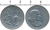 Изображение Дешевые монеты ЮАР 20 центов 1965 Медно-никель VF