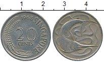 Изображение Дешевые монеты Сингапур 20 центов 1968 Медно-никель XF