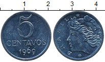 Изображение Дешевые монеты Бразилия 5 сентаво 1969 нержавеющая сталь XF