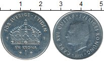 Изображение Дешевые монеты Швеция 1 крона 2001 Медно-никель XF