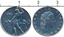 Изображение Дешевые монеты Италия 50 лир 1993 Медно-никель XF