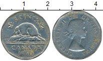 Изображение Дешевые монеты Канада 5 центов 1960 Медно-никель VF+