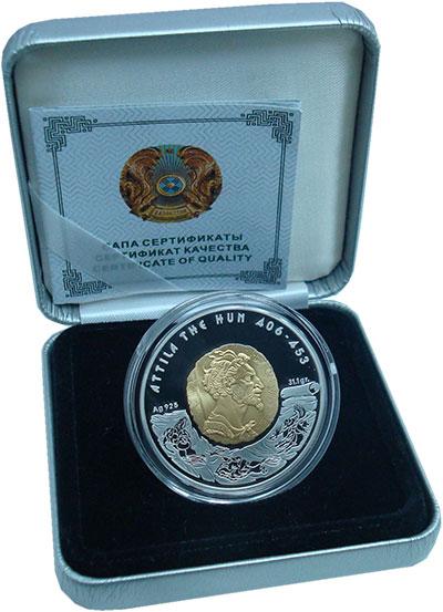 Изображение Подарочные монеты Казахстан 100 тенге 2009 Серебро Proof- Позолота.  Хан  Атти