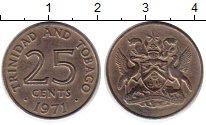 Изображение Монеты Тринидад и Тобаго 25 центов 1971 Медно-никель XF