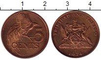 Изображение Монеты Тринидад и Тобаго 5 центов 1974 Бронза XF