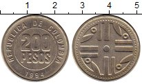 Изображение Монеты Колумбия 200 песо 1994 Медно-никель XF
