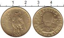 Изображение Монеты Сан-Марино 200 лир 1997 Латунь UNC