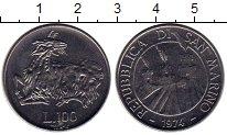 Изображение Монеты Сан-Марино 100 лир 1974 Сталь UNC