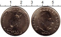 Изображение Монеты Норвегия 20 крон 2015 Латунь UNC-