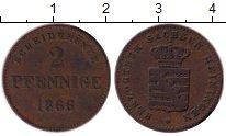 Изображение Монеты Германия Саксе-Мейнинген 2 пфеннига 1866 Медь VF