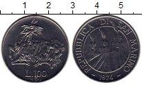 Изображение Монеты Сан-Марино 100 лир 1974 Медно-никель UNC