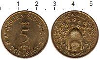 Изображение Монеты Словения 5 толаров 1993 Латунь UNC