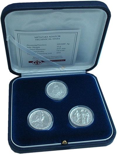 Изображение Подарочные монеты Венгрия 2 пенго Рестрайк-Сет 2010 Серебро UNC Официальный набор ре
